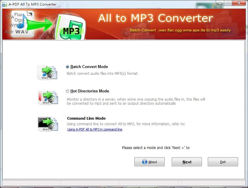 Batch convert WMA, WAV, OGG, APE, Flac, TTA to MP3 format