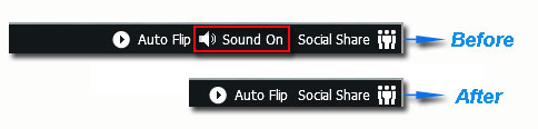 Show or hide flipbook buttons by use of page flip Software