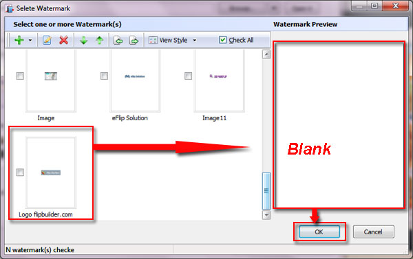 How to remove text or image watermark from output flipbook