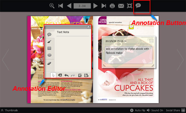 Can I add annotations into digital ebook with FlipBook Maker