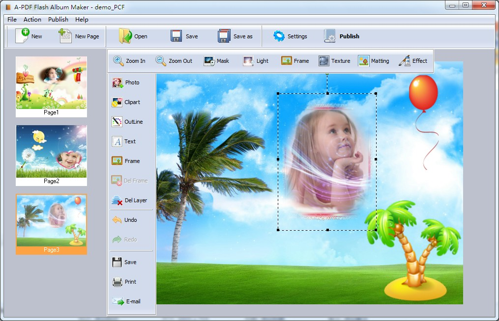 A-PDF Flash Album Maker - picture collage software, digital scrapbook, digital scrapbooking software, make a collage, flash Slideshow, flash slideshow builder,flash albums - Make collages and combine them to flash album in minutes