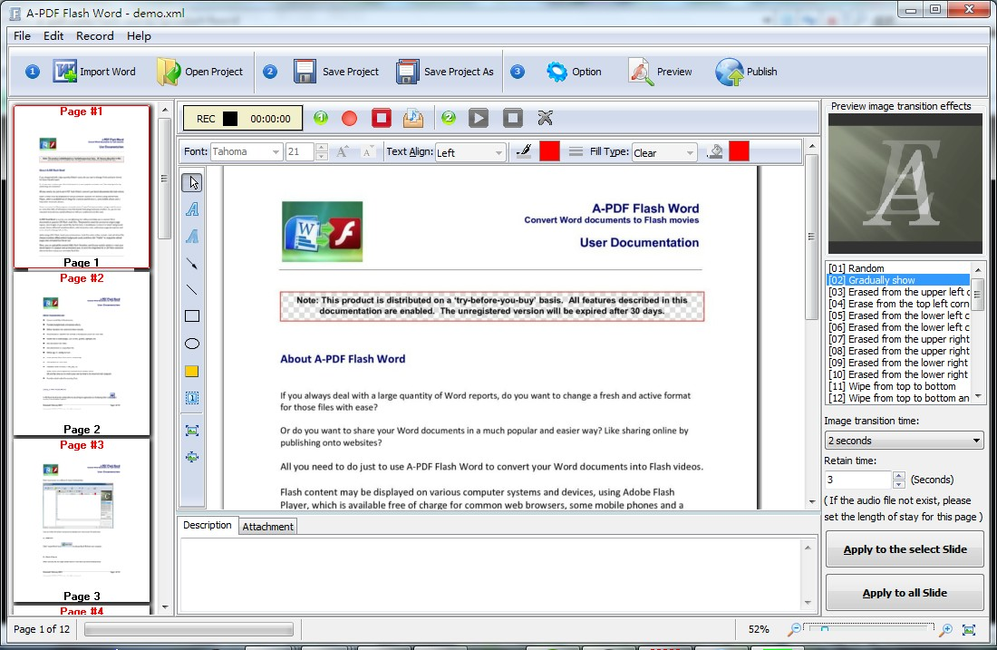 Convert Word documents to interactive Flash