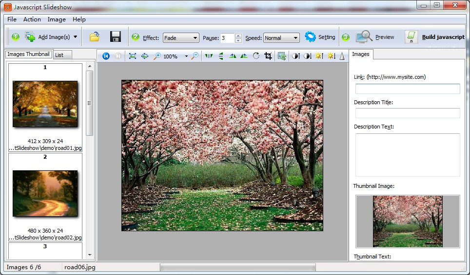 JavaScript SlideShow Builder Screen shot