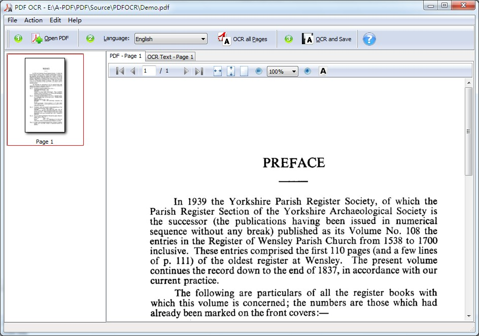 OCR Scanned PDF into editable electronic text