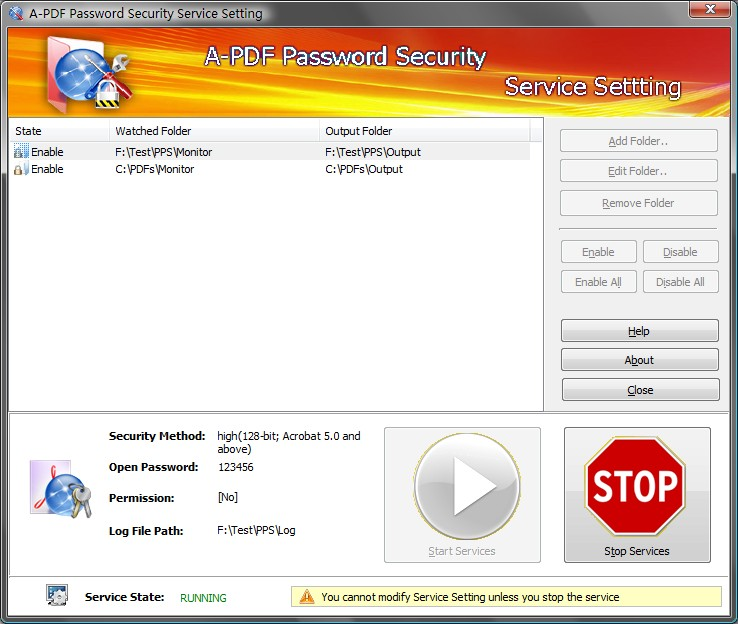 Click to view A-PDF Password Security Service 4.2.3 screenshot